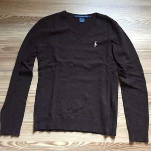 Ralph Lauren Sport V Neck Brown Sweater M